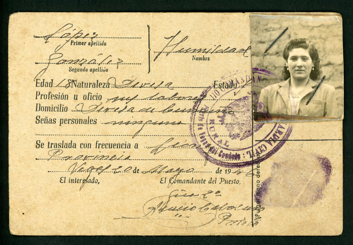 Tarjeta provisional de identidad de Humildad López González