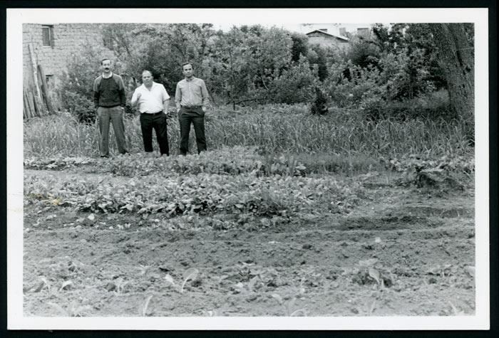 Emilio, Marce de la Varga y Ricardo Zurdo en la huerta de la casa familiar en Cerezales del Condado
