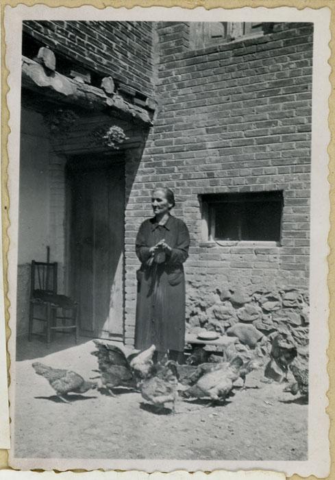 La abuela Antolina de Cabo echando de comer a las gallinas en el corral de la casa familiar en Cerezales del Condado