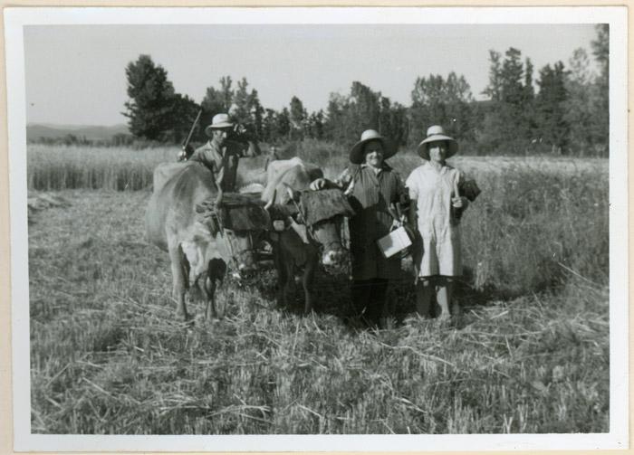 Valeriano Gutiérrez con su mujer Avelina González y su hermana Felisa Gutiérrez en un descanso de la siega en El Vago, en Cerezales del Condado