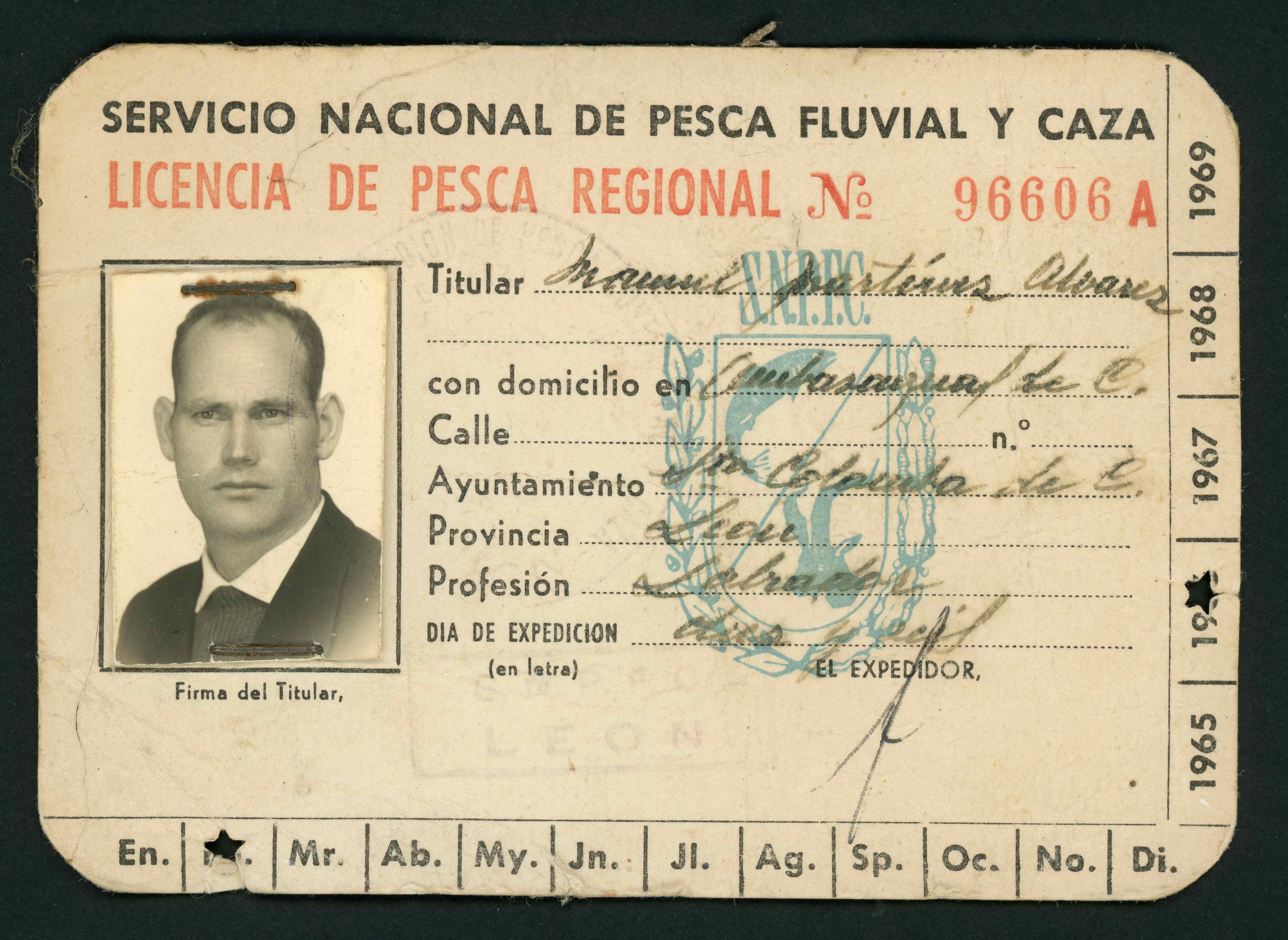 Licencia de pesca de Manuel Martínez