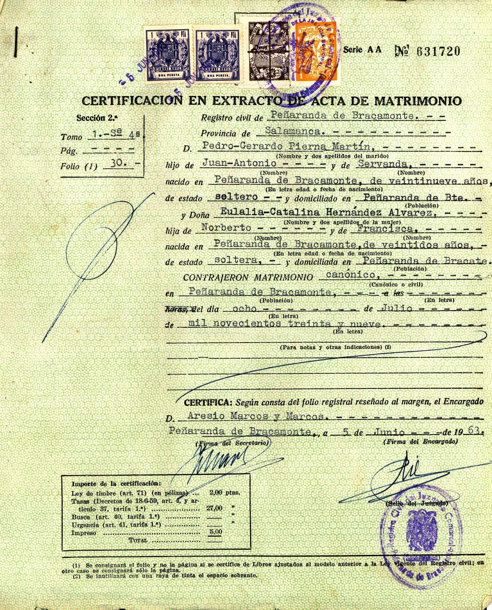 Certificación en extracto de acta de matrimonio