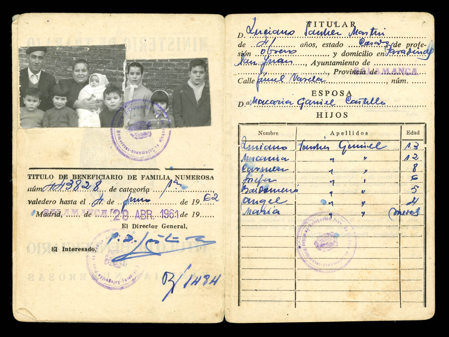 Familia Sánchez Garriel en Paradinas de San Juan