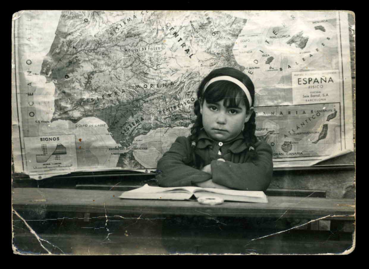 Socorro Sánchez en la escuela de Paradinas de San Juan